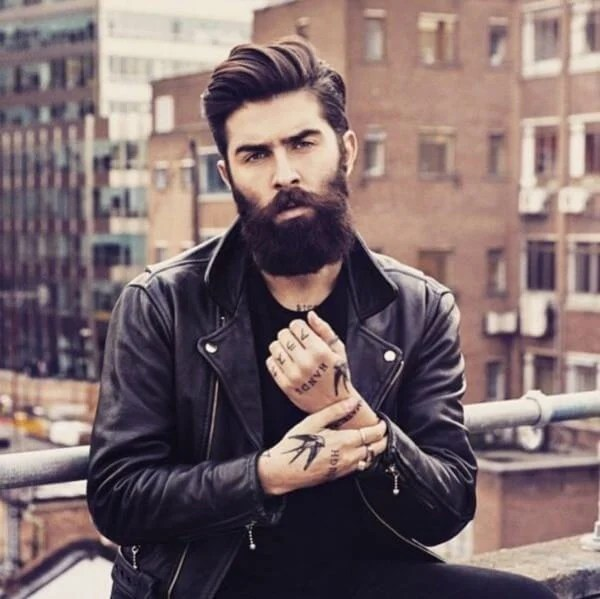 Brown Swept Medium Hair with Amazing Beard Style