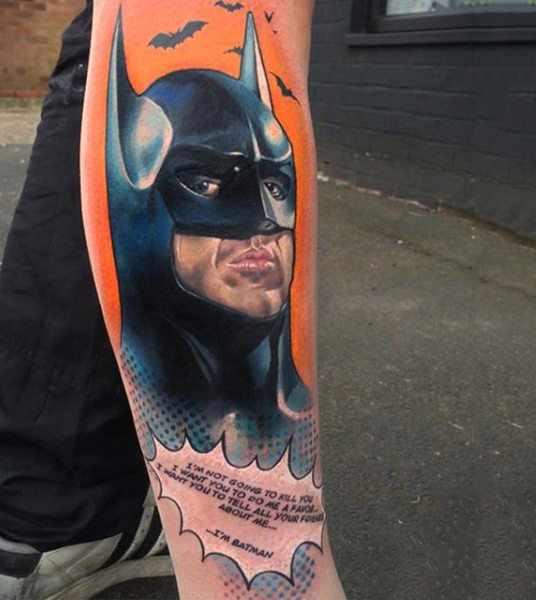 Batman Leg Sleeve Tattoo