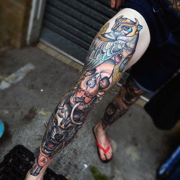 Wolf Sleeve Leg Tattoo