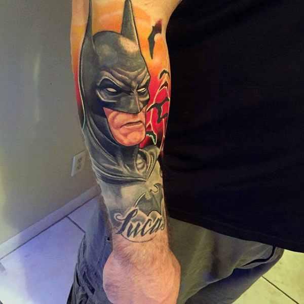 Forearm Batman Tattoo Sleeve