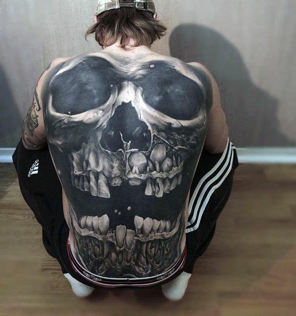 3D Full Back Skull Tattoo