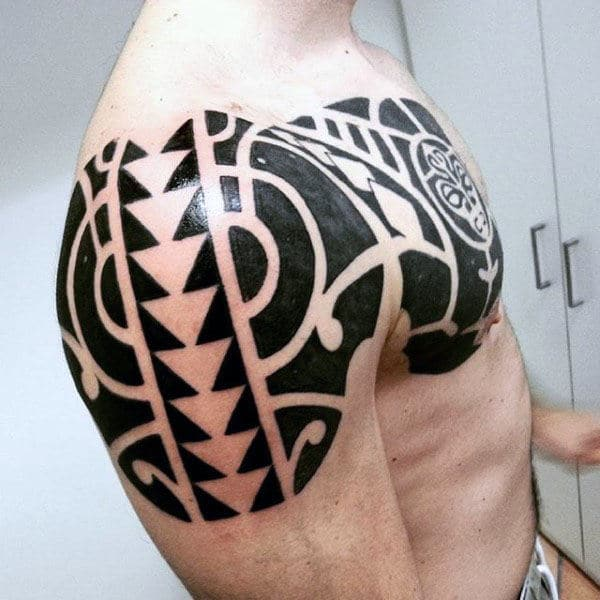 Tribal Arm & Chest Tattoo