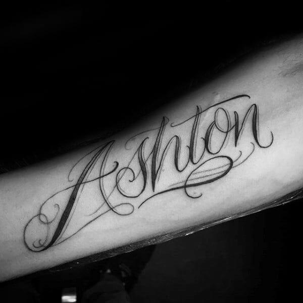 Ashton Name Forearm Tattoo