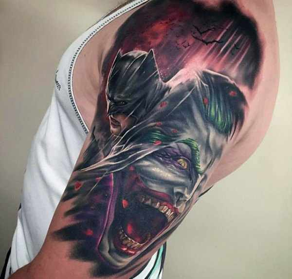 Upper Arm Batman & Joker Tattoo