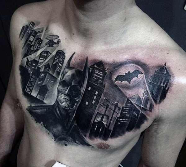 Bat Signal Chest Tattoo