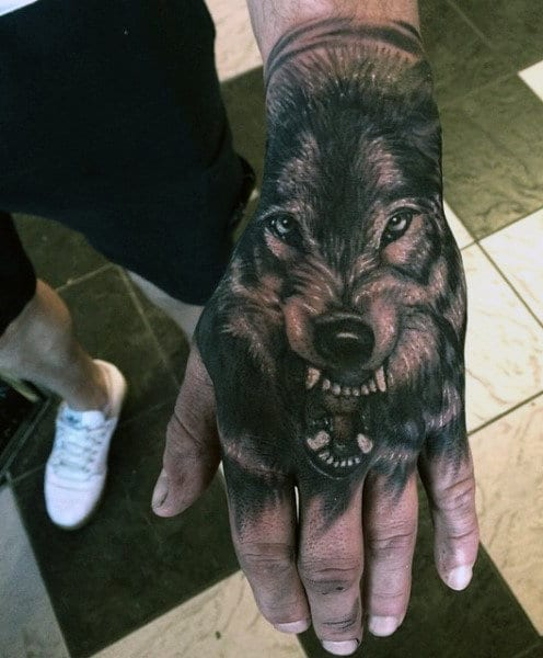 Cool Wolf Hand Tattoo