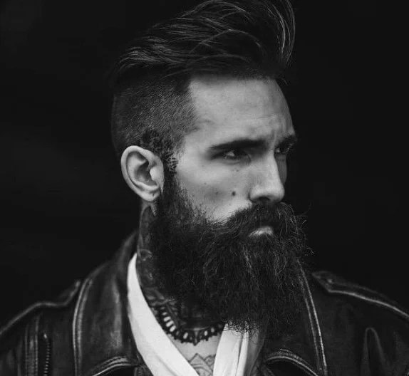 Brown Short Back & Sides with Swept Hair & Bandholz Beard