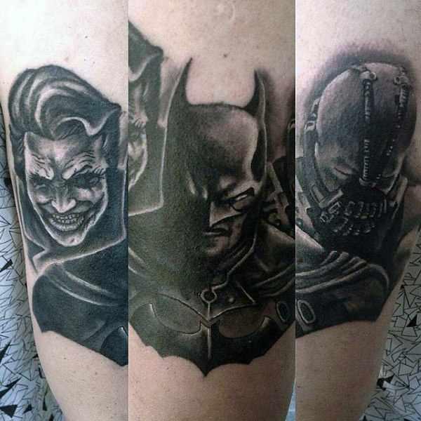Batman Joker & Bane Arm Tattoos