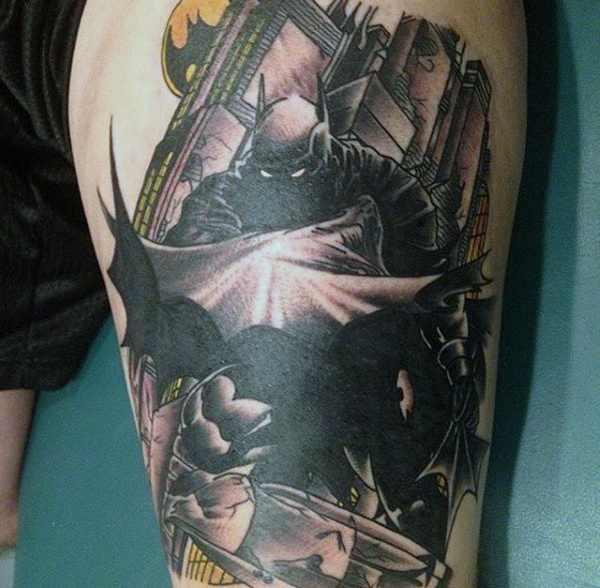 Batman Thigh Tattoo Design