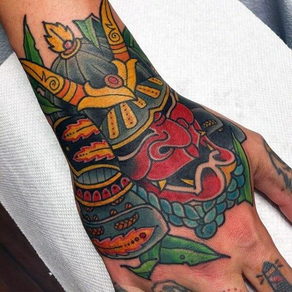 Modern Samurai Mask Hand Tattoo