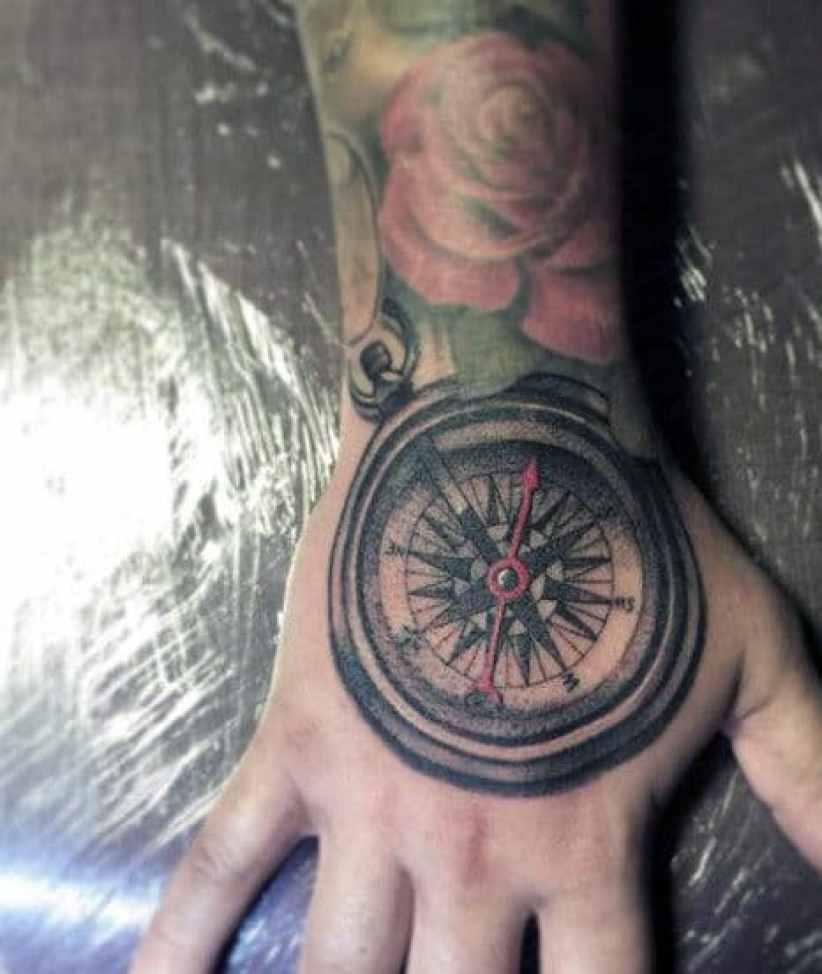 Compass Hand Tattoo