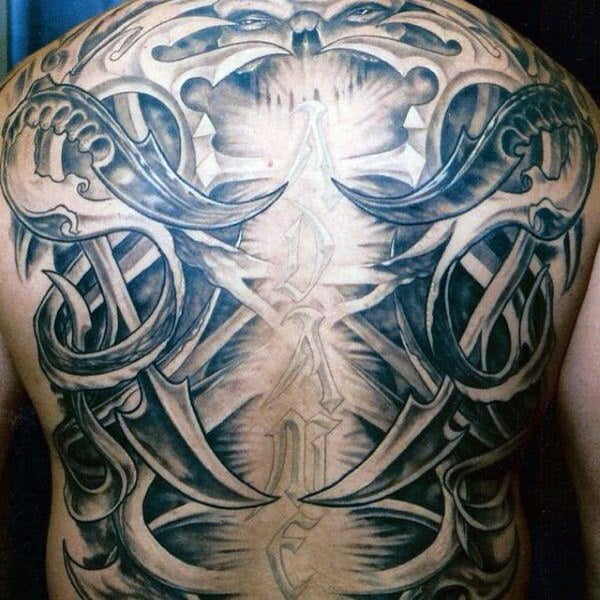 Satanic Skeleton Back Tattoo