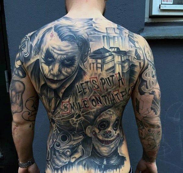 Full Back Joker Themed Tattoo