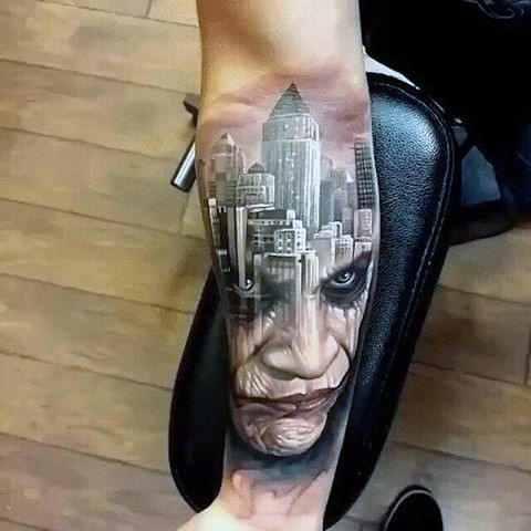 The Joker Gotham City Arm Tattoo