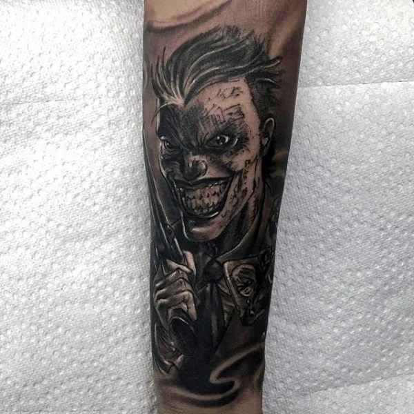 The Joker Themed Tattoo Sleeve