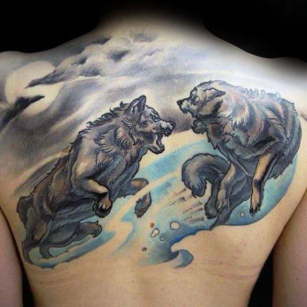 Watercolour Running Wolves