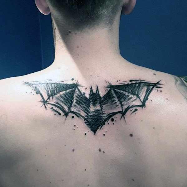 Sketched Batman Back Tattoo