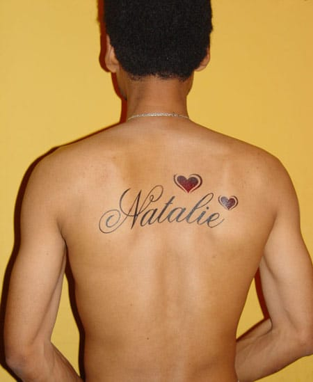 Cool Name Tattoo Back Design with Hearts