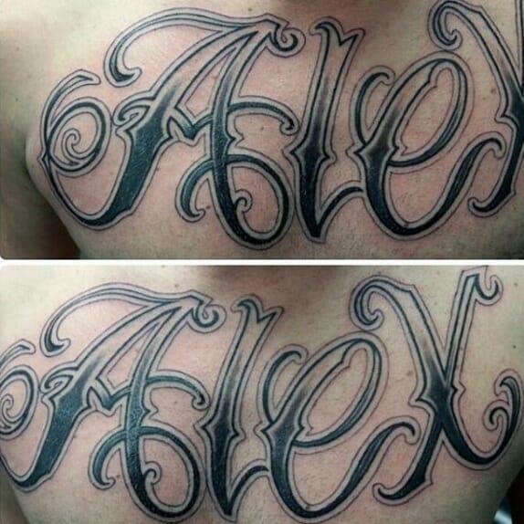 """""""Alex"""" Mens Full Chest Name Tattoo"""