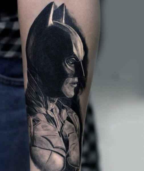 Realistic Black In Shaded Batman Tattoo