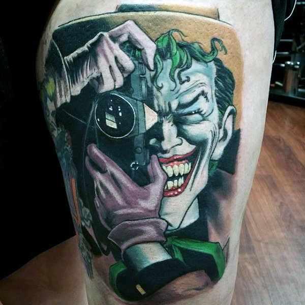 Realistic The Joker Thigh Tattoo