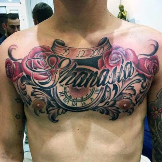 Clock with Scroll & Rose Design Chest Name Tattoo