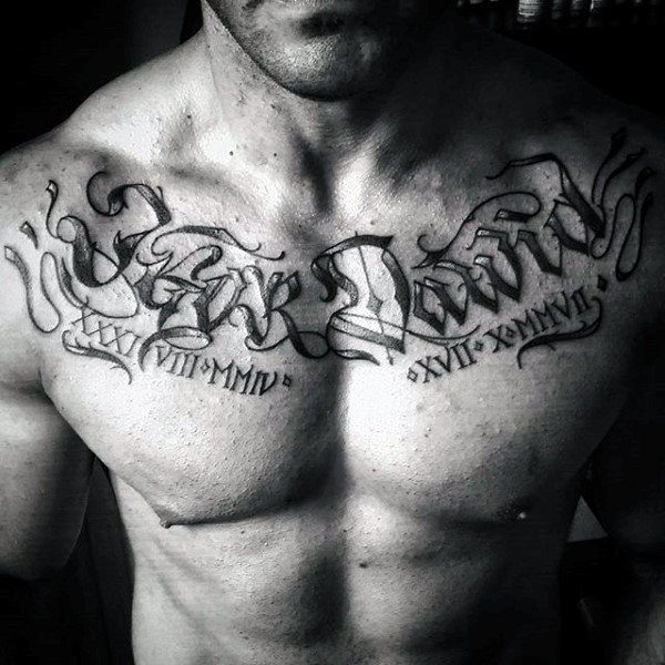 Roman numerals with Name Chest Tattoo