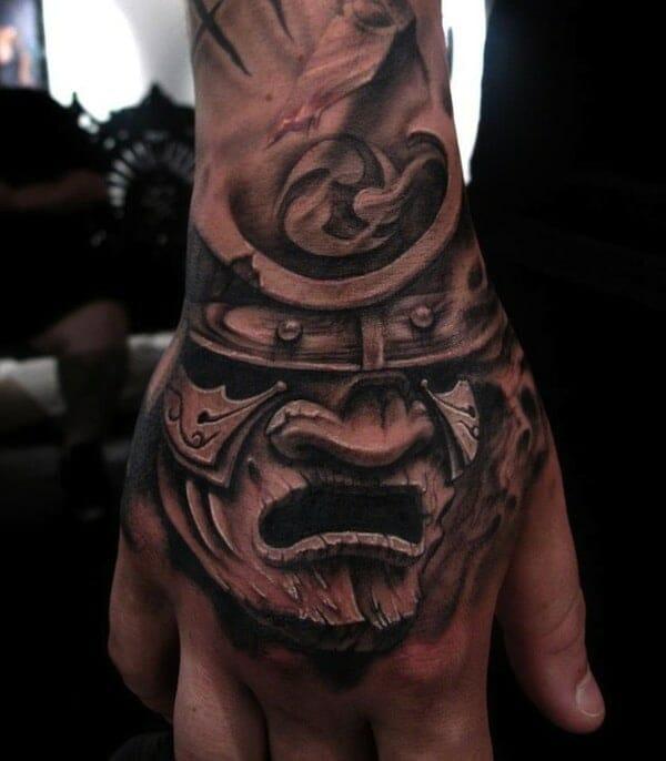 Samurai Mask Hand Tattoo