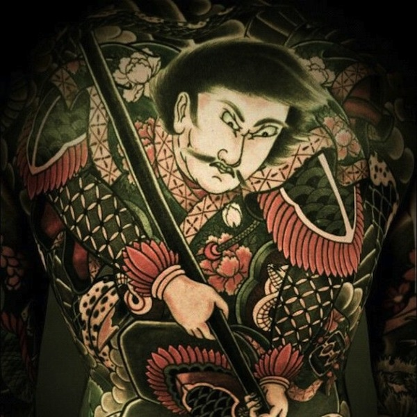 Japanese style full back tattoo