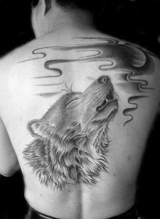 Wolf Howling At Moon Tattoo