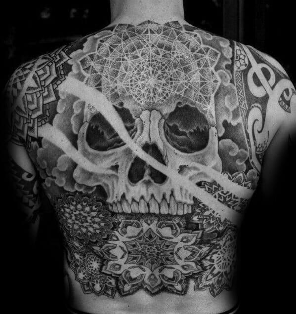 skull back tattoos