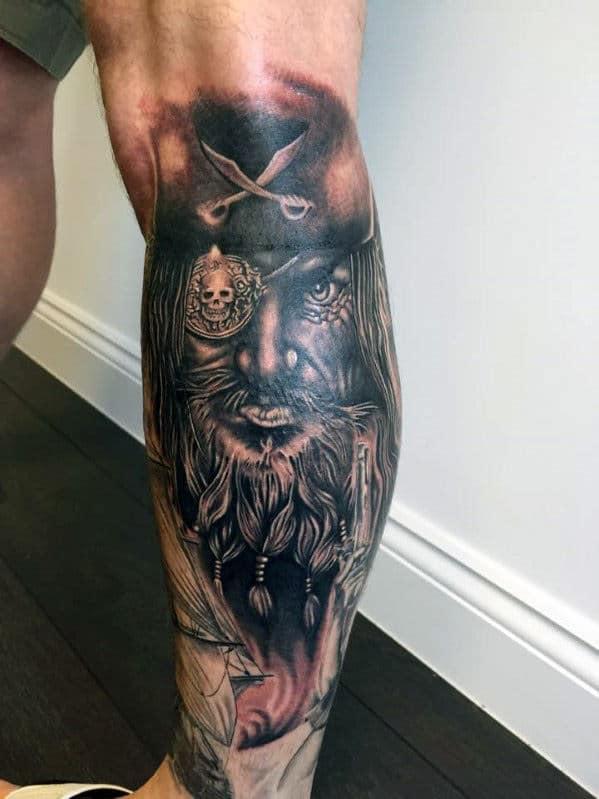 pirate leg tattoo