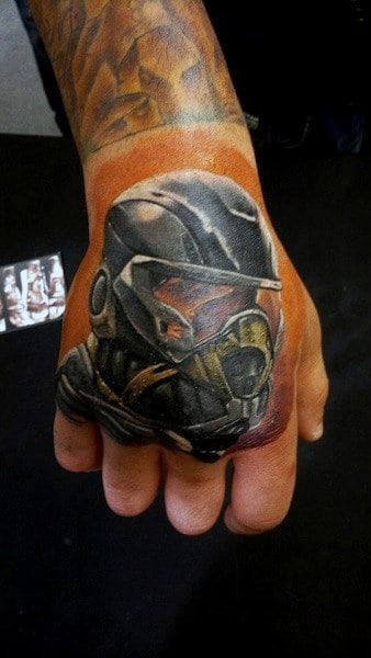 Masked Soldier Hand Tattoo