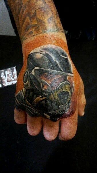 Masked Soldier Hand Tattoo