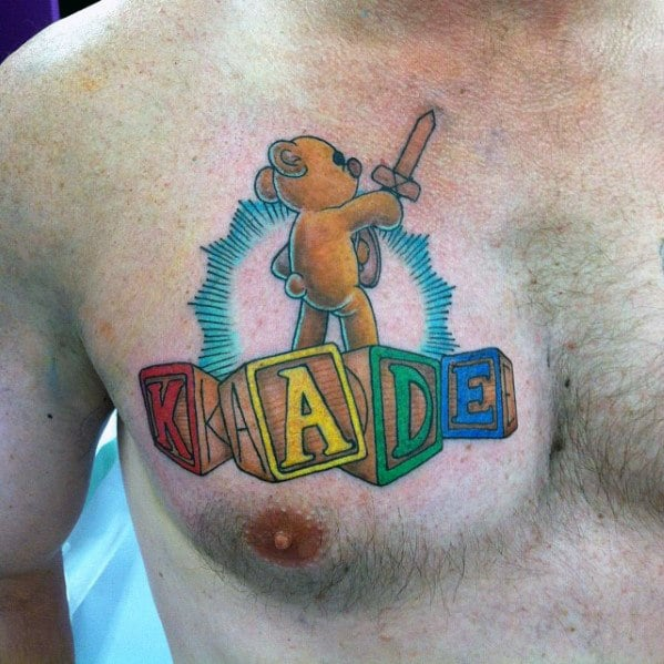 Name with Teddy Bear with Blocks Tattoo Upper Chest