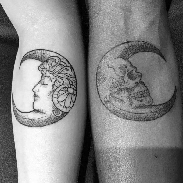 Two Moons Couples Tattoos