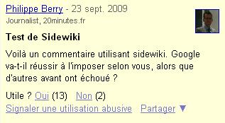 sidewiki commentaires débat