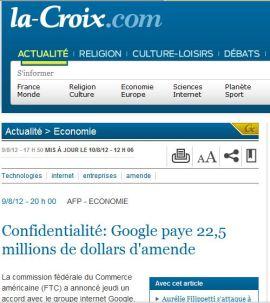 La Croix 10 aout 2012 amende Google