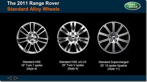 2011 Range Rover - Standard Alloy Wheels - Style 8, Style 9 & Style 11
