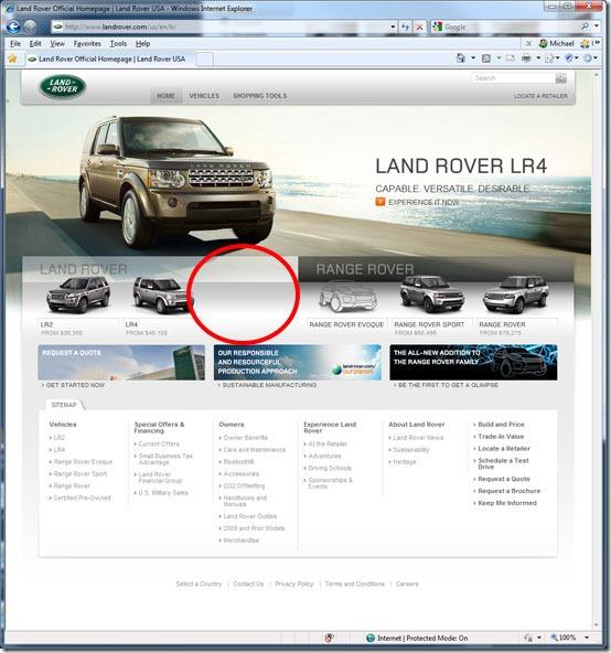 LandRoverWebPageMissing