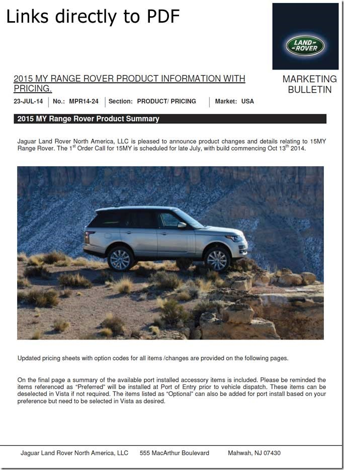 My2015 Range Rover Official Info Pricing For The North American