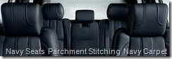 Navy Seats  Parchment Stitching  Navy Carpet