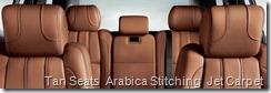 Tan Seats  Arabica Stitching  Jet Carpet