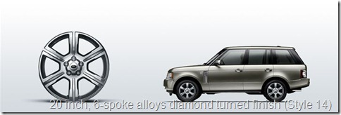 The Range Rover 20 inch, 6-spoke alloys diamond turned finish (Style 14)