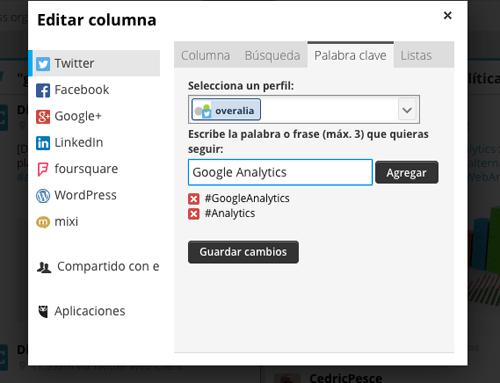 Ejemplo de monitorización de palabras clave en Hootsuite