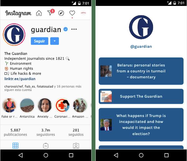 Perfiles de The Guardian en Instagram y Linktree