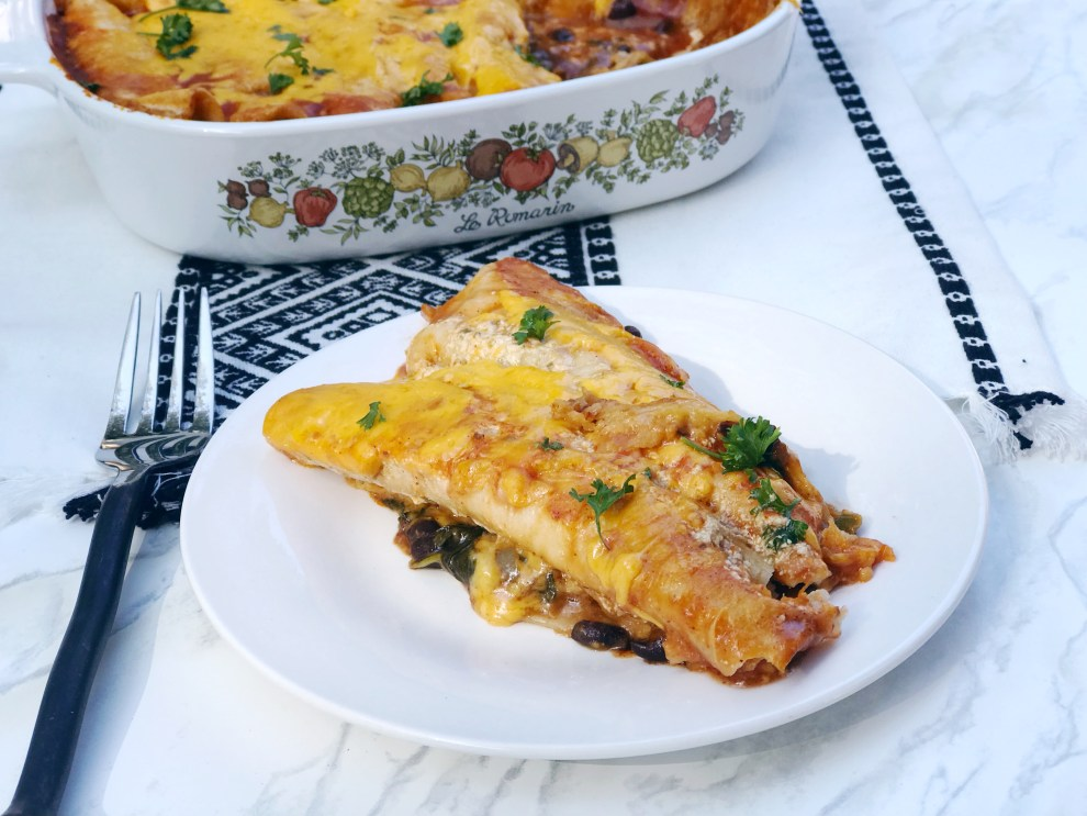black bean and spinach enchiladas