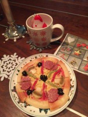 pizza, marsepein, kaarsje, servetten, kerst design, overhaar, blog, advent
