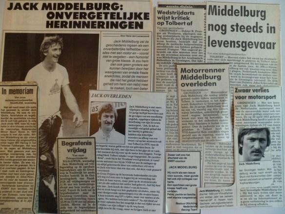 Knipsels van publicaties over Jack Middelburg