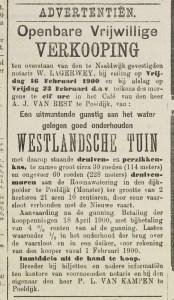 Een advertntie waarin een Westlandsche tuin wordt aangeboden in de Nieuwe Westlandsche Courant in 1900